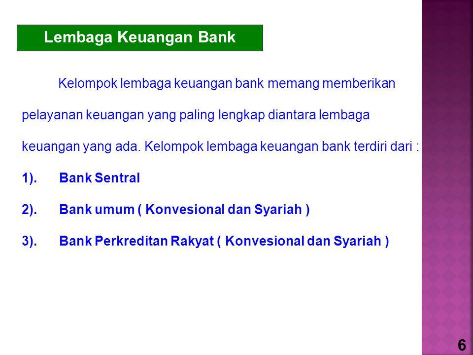 Lembaga Keuangan Bank Kelompok lembaga keuangan bank memang memberikan pelayanan keuangan yang paling lengkap diantara lembaga keuangan yang ada. Kelo