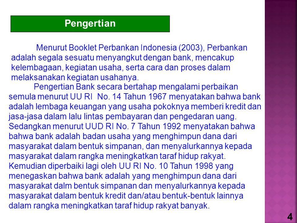 Pengertian Menurut Booklet Perbankan Indonesia (2003), Perbankan adalah segala sesuatu menyangkut dengan bank, mencakup kelembagaan, kegiatan usaha, serta cara dan proses dalam melaksanakan kegiatan usahanya.