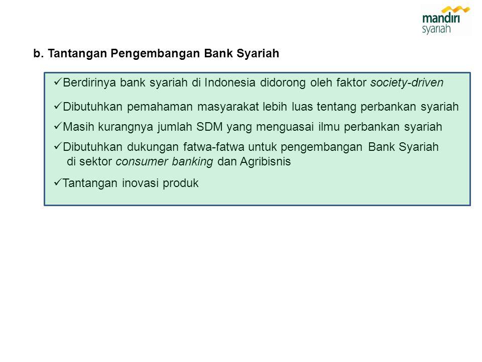 b. Tantangan Pengembangan Bank Syariah  Berdirinya bank syariah di Indonesia didorong oleh faktor society-driven  Dibutuhkan dukungan fatwa-fatwa un