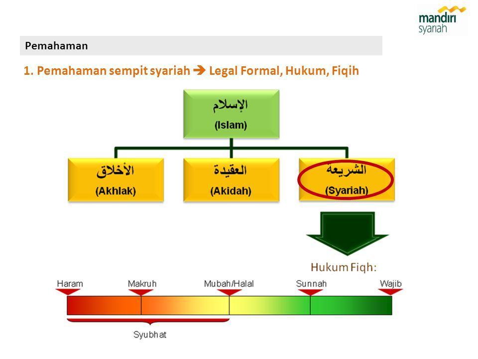 1. Pemahaman sempit syariah  Legal Formal, Hukum, Fiqih Pemahaman
