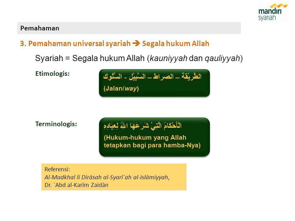 Etimologis: Referensi: Al-Madkhal li Dirāsah al-Syarī`ah al-Islāmiyyah, Dr. `Abd al-Karīm Zaidān الطَّريْقَة – الصراط – السَّبِيْل - السُّلُوك (Jalan/