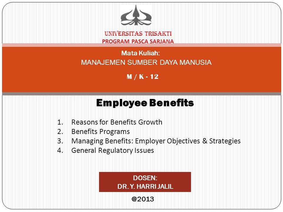 UNIVERSITAS TRISAKTI PROGRAM PASCA SARJANA Mata Kuliah: M / K - 12 Employee Benefits DOSEN: DR. Y. HARRI JALIL @2013 MANAJEMEN SUMBER DAYA MANUSIA 1.R