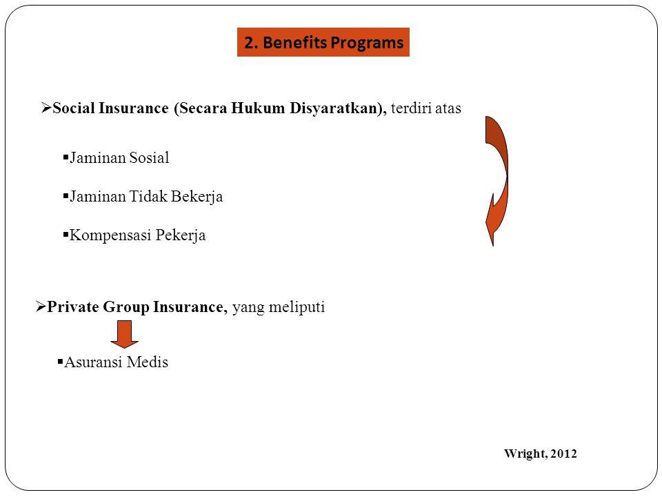  Social Insurance (Secara Hukum Disyaratkan), terdiri atas  Jaminan Sosial  Jaminan Tidak Bekerja  Kompensasi Pekerja  Private Group Insurance, y