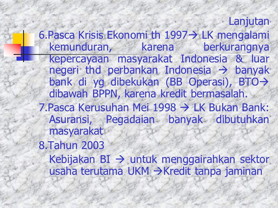 PERKEMBANGAN LEMBAGA KEUANGAN DI INDONESIA 1.Repelita I, tanggal 1 April 1969 Fungsi Lembaga Keuangan pada waktu itu: Mendorong mobilisasi tabungan, p
