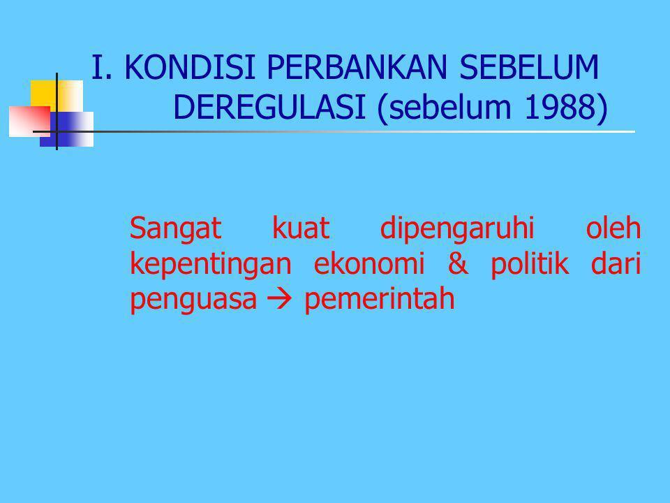 PERKEMBANGAN PERBANKAN DI INDONESIA Ada beberapa periode: 1.Sebelum deregulasi 2.Sesudah deregulasi 3.Saat krisis ekonomi akhir tahun 1997 4.Tahun 200