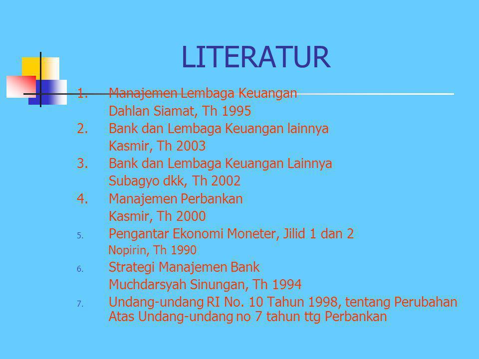 LITERATUR 1.Manajemen Lembaga Keuangan Dahlan Siamat, Th 1995 2.Bank dan Lembaga Keuangan lainnya Kasmir, Th 2003 3.Bank dan Lembaga Keuangan Lainnya Subagyo dkk, Th 2002 4.Manajemen Perbankan Kasmir, Th 2000 5.