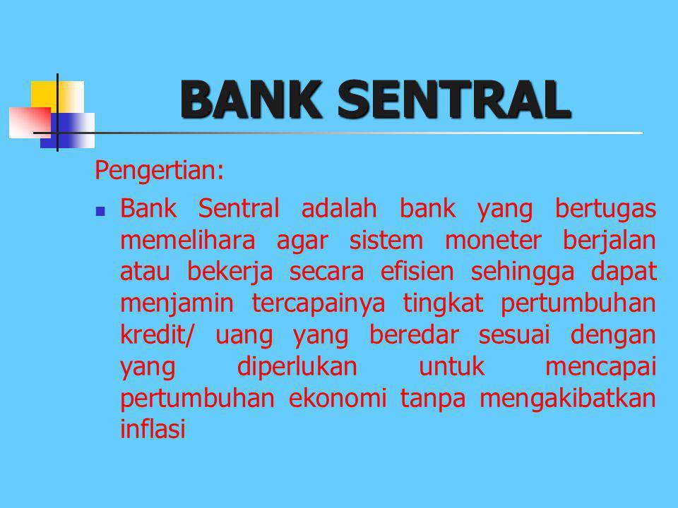 JENIS-JENIS BANK UU RI NO.10 Tahun 1998: 1. Bank Sentral 2. Bank Umum 3. Bank Perkreditan Rakyat (BPR)