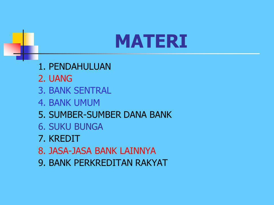 MATERI 1.PENDAHULUAN 2. UANG 3. BANK SENTRAL 4. BANK UMUM 5.