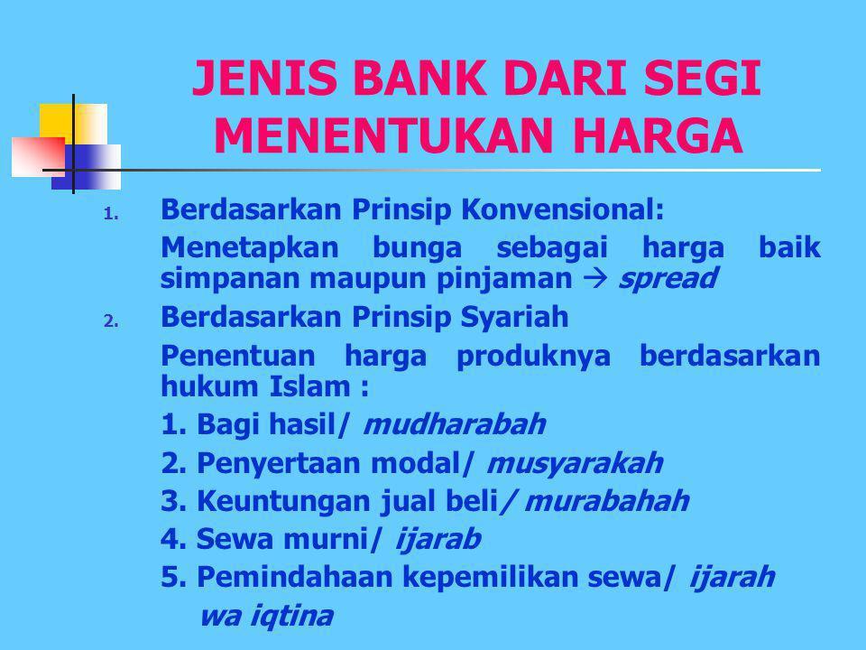 JENIS-JENIS BANK UMUM 1.Bank-bank Pemerintah: > Pemerintah Pusat > Pemerintah Daerah 2.Bank-bank Swasta: > Swasta Nasional > Swasta Asing