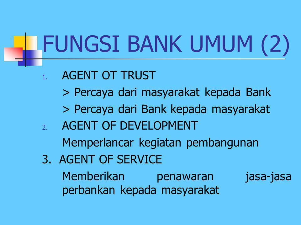 FUNGSI BANK UMUM (1) 1. Menghimpun dana & menyalurkan dana kpd masyarakat dlm bentuk pinjaman 2. Menyediakan mekanisme & alat pembayaran yg efisien dl