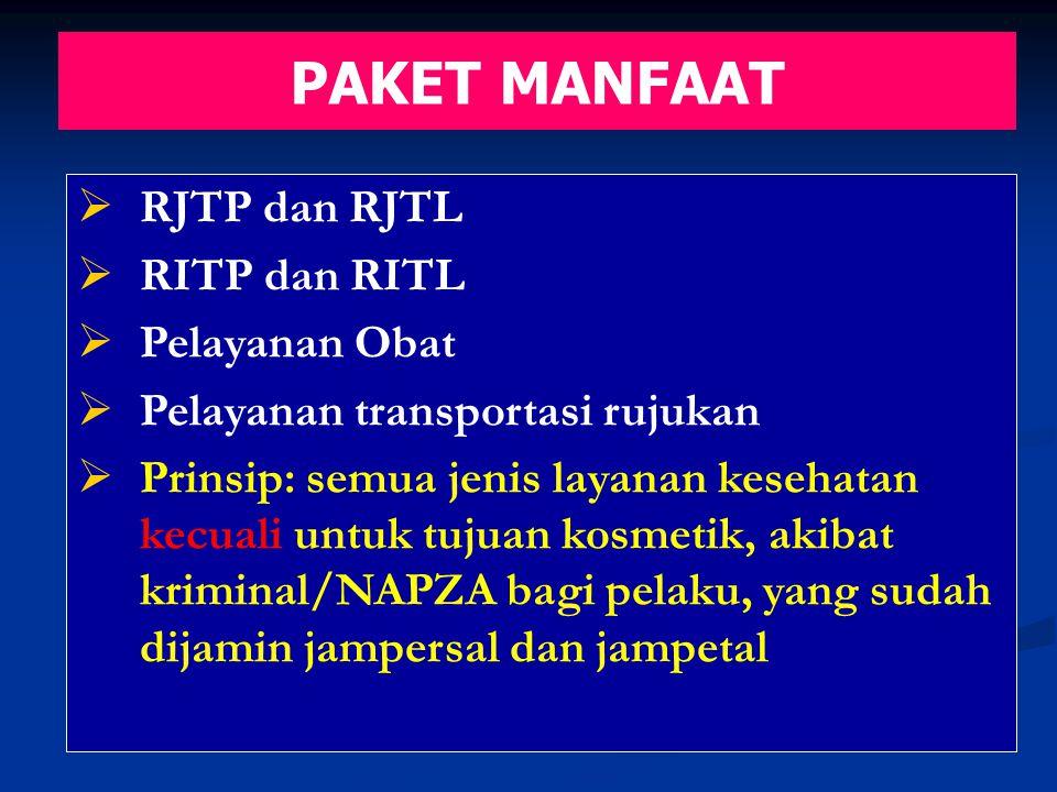 PAKET MANFAAT  RJTP dan RJTL  RITP dan RITL  Pelayanan Obat  Pelayanan transportasi rujukan  Prinsip: semua jenis layanan kesehatan kecuali untuk