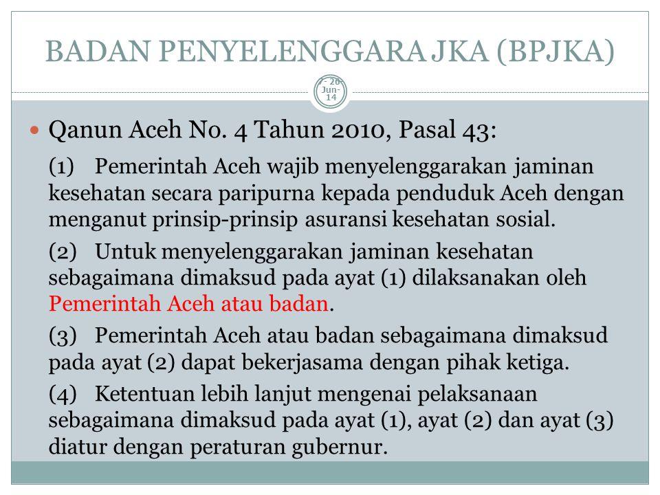 BADAN PENYELENGGARA JKA (BPJKA)  Qanun Aceh No. 4 Tahun 2010, Pasal 43: (1)Pemerintah Aceh wajib menyelenggarakan jaminan kesehatan secara paripurna