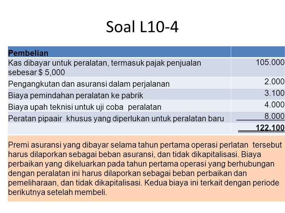 Soal L10-4 Pembelian Kas dibayar untuk peralatan, termasuk pajak penjualan sebesar $ 5,000 105.000 Pengangkutan dan asuransi dalam perjalanan 2.000 Bi