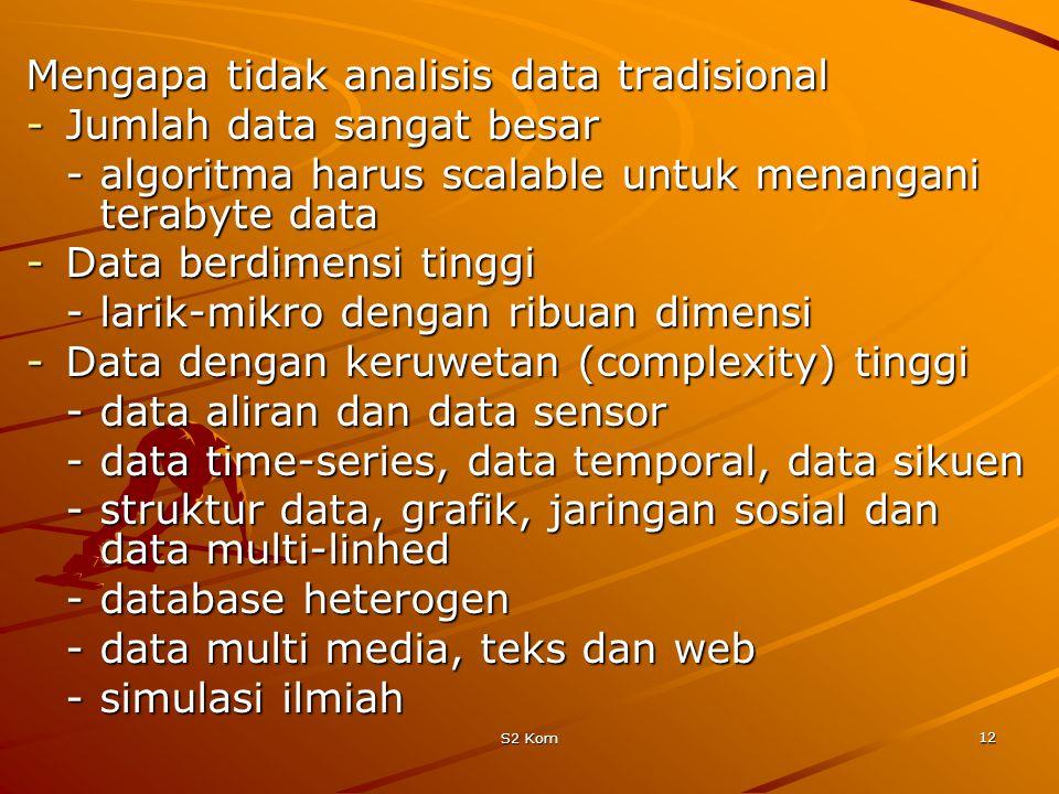 S2 Kom 12 Mengapa tidak analisis data tradisional -Jumlah data sangat besar -algoritma harus scalable untuk menangani terabyte data -Data berdimensi tinggi -larik-mikro dengan ribuan dimensi -Data dengan keruwetan (complexity) tinggi -data aliran dan data sensor -data time-series, data temporal, data sikuen -struktur data, grafik, jaringan sosial dan data multi-linhed -database heterogen -data multi media, teks dan web -simulasi ilmiah