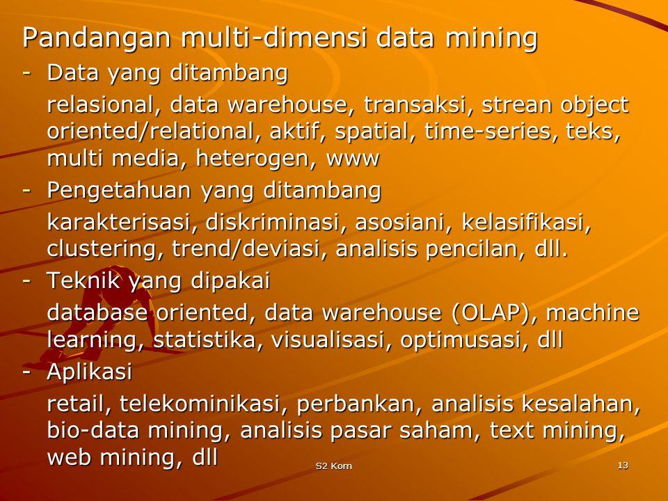 S2 Kom 13 Pandangan multi-dimensi data mining -Data yang ditambang relasional, data warehouse, transaksi, strean object oriented/relational, aktif, spatial, time-series, teks, multi media, heterogen, www -Pengetahuan yang ditambang karakterisasi, diskriminasi, asosiani, kelasifikasi, clustering, trend/deviasi, analisis pencilan, dll.