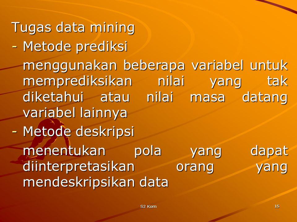 S2 Kom 15 Tugas data mining -Metode prediksi menggunakan beberapa variabel untuk memprediksikan nilai yang tak diketahui atau nilai masa datang variabel lainnya -Metode deskripsi menentukan pola yang dapat diinterpretasikan orang yang mendeskripsikan data