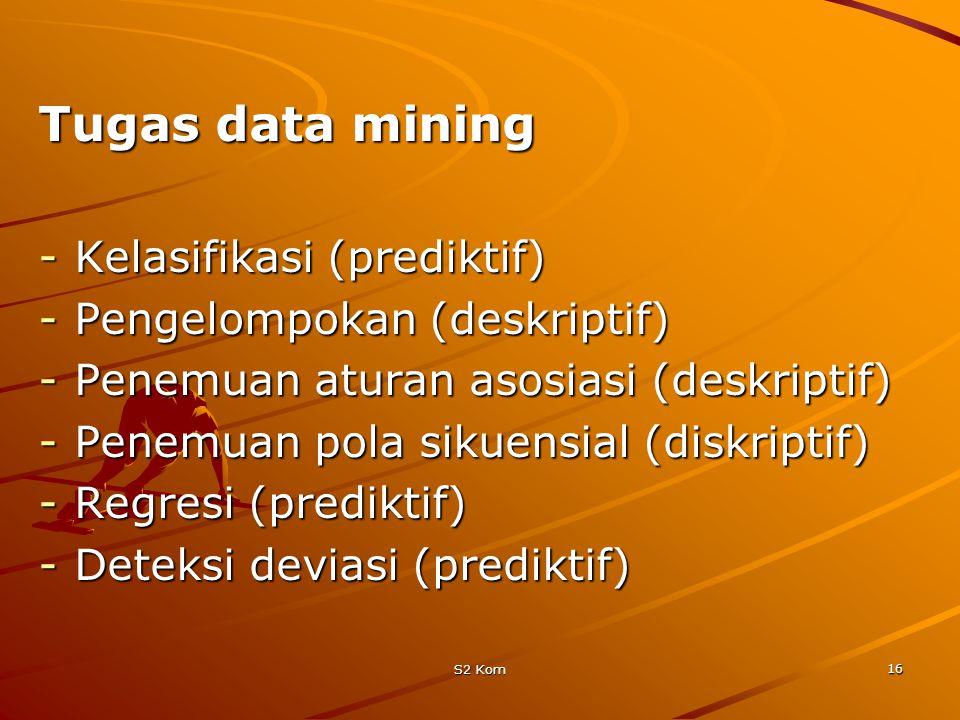 S2 Kom 16 Tugas data mining -Kelasifikasi (prediktif) -Pengelompokan (deskriptif) -Penemuan aturan asosiasi (deskriptif) -Penemuan pola sikuensial (diskriptif) -Regresi (prediktif) -Deteksi deviasi (prediktif)