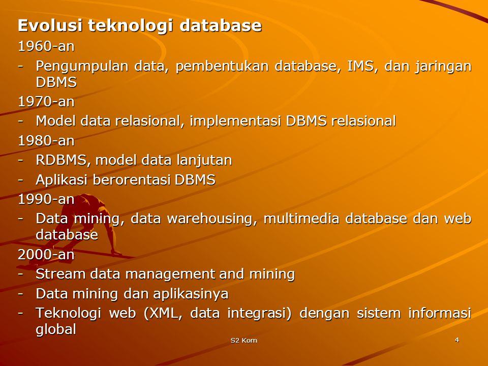 S2 Kom 4 Evolusi teknologi database 1960-an -Pengumpulan data, pembentukan database, IMS, dan jaringan DBMS 1970-an -Model data relasional, implementasi DBMS relasional 1980-an -RDBMS, model data lanjutan -Aplikasi berorentasi DBMS 1990-an -Data mining, data warehousing, multimedia database dan web database 2000-an -Stream data management and mining -Data mining dan aplikasinya -Teknologi web (XML, data integrasi) dengan sistem informasi global