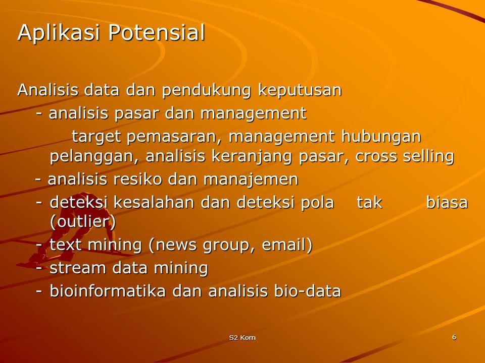 S2 Kom 6 Aplikasi Potensial Analisis data dan pendukung keputusan - analisis pasar dan management target pemasaran, management hubungan pelanggan, analisis keranjang pasar, cross selling - analisis resiko dan manajemen - analisis resiko dan manajemen -deteksi kesalahan dan deteksi pola tak biasa (outlier) -text mining (news group, email) -stream data mining -bioinformatika dan analisis bio-data