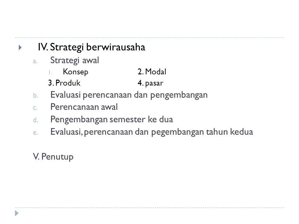  IV. Strategi berwirausaha a. Strategi awal 1. Konsep2. Modal 3. Produk4. pasar b. Evaluasi perencanaan dan pengembangan c. Perencanaan awal d. Penge