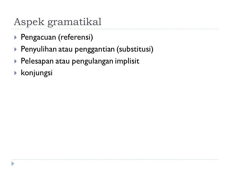 Aspek gramatikal  Pengacuan (referensi)  Penyulihan atau penggantian (substitusi)  Pelesapan atau pengulangan implisit  konjungsi