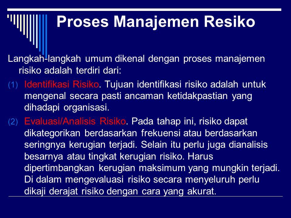 Proses Manajemen Resiko Langkah-langkah umum dikenal dengan proses manajemen risiko adalah terdiri dari: (1) Identifikasi Risiko. Tujuan identifikasi ri