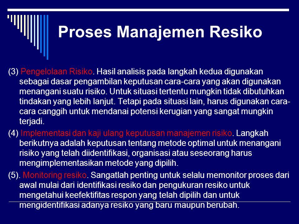 Proses Manajemen Resiko (3) Pengelolaan Risiko. Hasil analisis pada langkah kedua digunakan sebagai dasar pengambilan keputusan cara-cara yang akan di