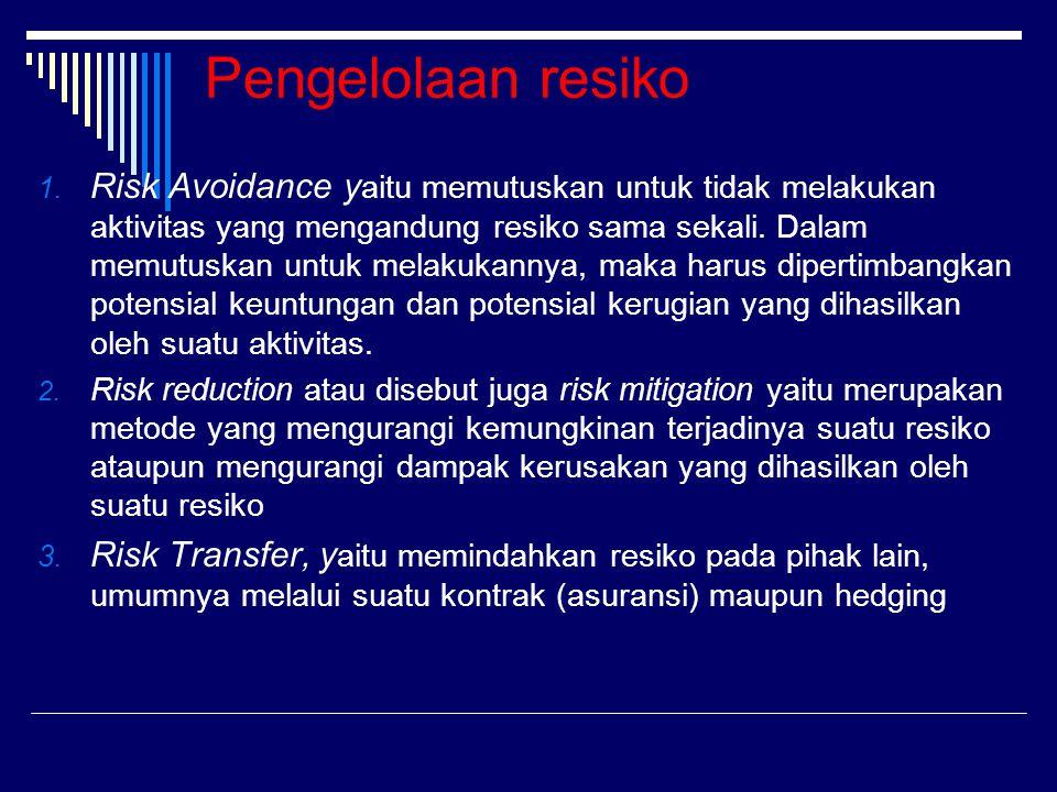 Pengelolaan resiko 1. Risk Avoidance y aitu memutuskan untuk tidak melakukan aktivitas yang mengandung resiko sama sekali. Dalam memutuskan untuk mela