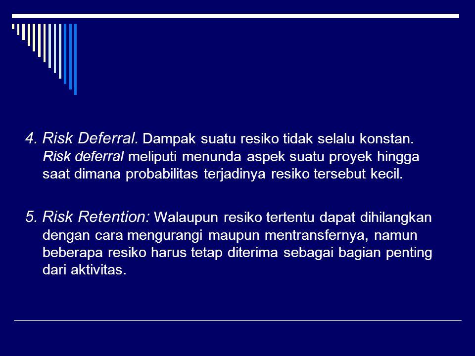 4. Risk Deferral. Dampak suatu resiko tidak selalu konstan. Risk deferral meliputi menunda aspek suatu proyek hingga saat dimana probabilitas terjadin