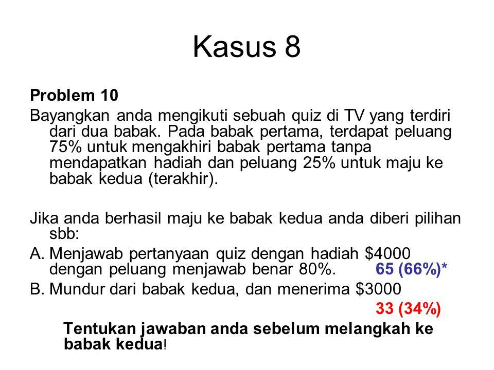 Kasus 8 Problem 10 Bayangkan anda mengikuti sebuah quiz di TV yang terdiri dari dua babak.