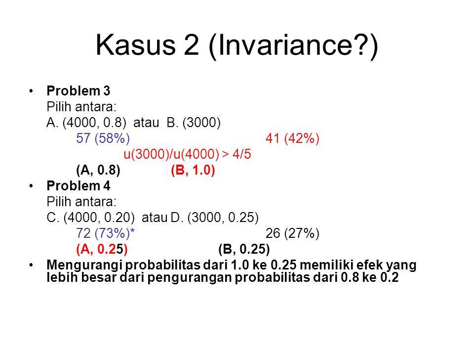 Problem 41/4 3/4 1/5 4/5 3000 0 4000 0 Problem 10 1/4 3/4 4/5 1/5 3000 4000 0 0 Risky prospect Riskless prospect Risky Prospect Risky prospect