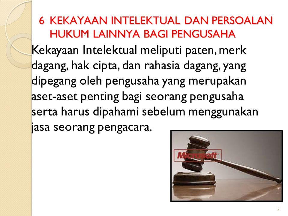 2 6 KEKAYAAN INTELEKTUAL DAN PERSOALAN HUKUM LAINNYA BAGI PENGUSAHA Kekayaan Intelektual meliputi paten, merk dagang, hak cipta, dan rahasia dagang, y