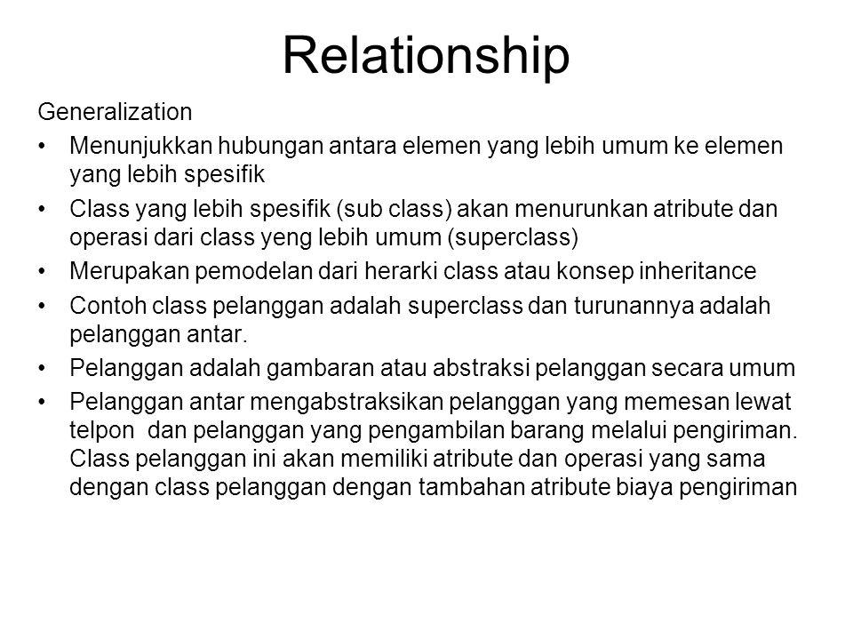 Relationship Generalization •Menunjukkan hubungan antara elemen yang lebih umum ke elemen yang lebih spesifik •Class yang lebih spesifik (sub class) a