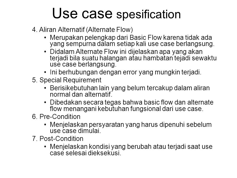 Use case spesification 4.