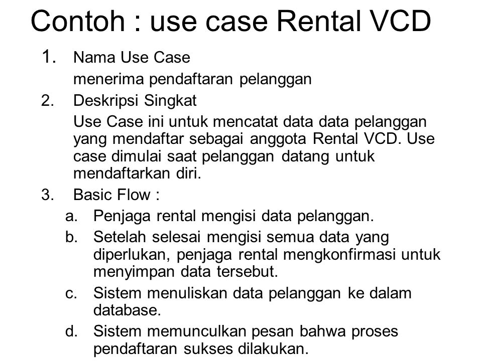 Contoh : use case Rental VCD 1.