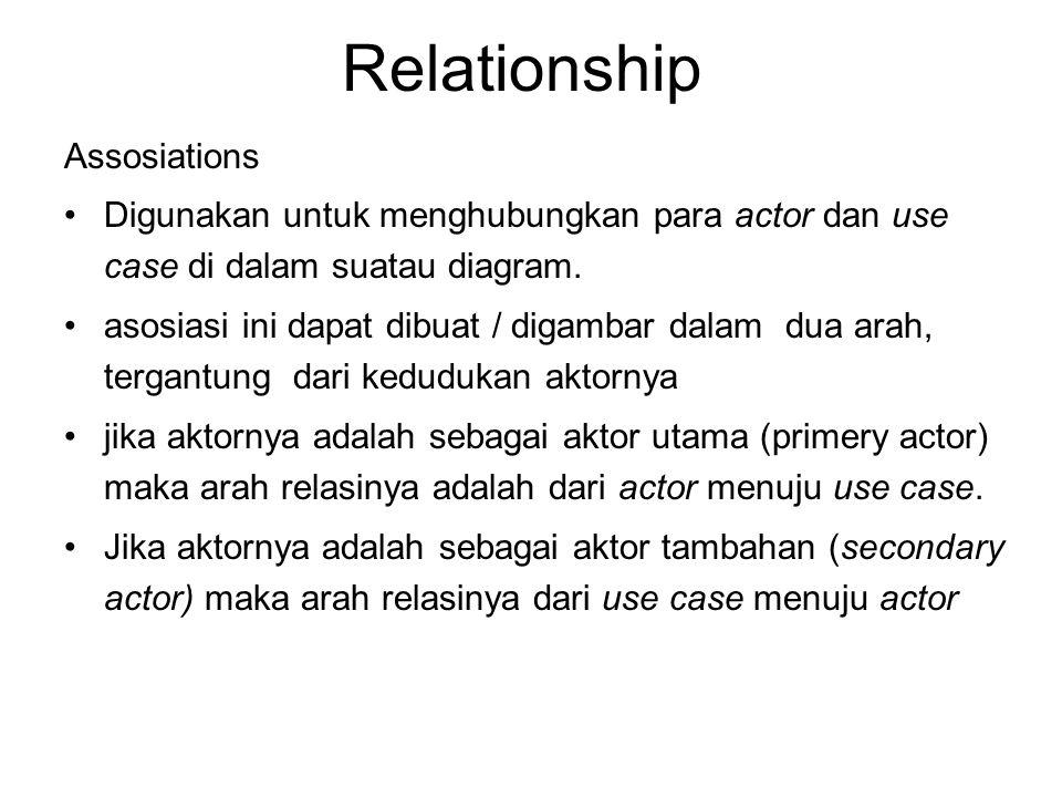 Relationship Assosiations •Digunakan untuk menghubungkan para actor dan use case di dalam suatau diagram. •asosiasi ini dapat dibuat / digambar dalam