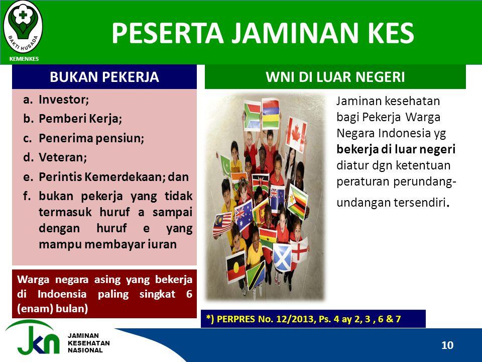 JAMINAN KESEHATAN NASIONAL PESERTA JAMINAN KES KEMENKES 10 *) PERPRES No. 12/2013, Ps. 4 ay 2, 3, 6 & 7 a.Investor; b.Pemberi Kerja; c.Penerima pensiu
