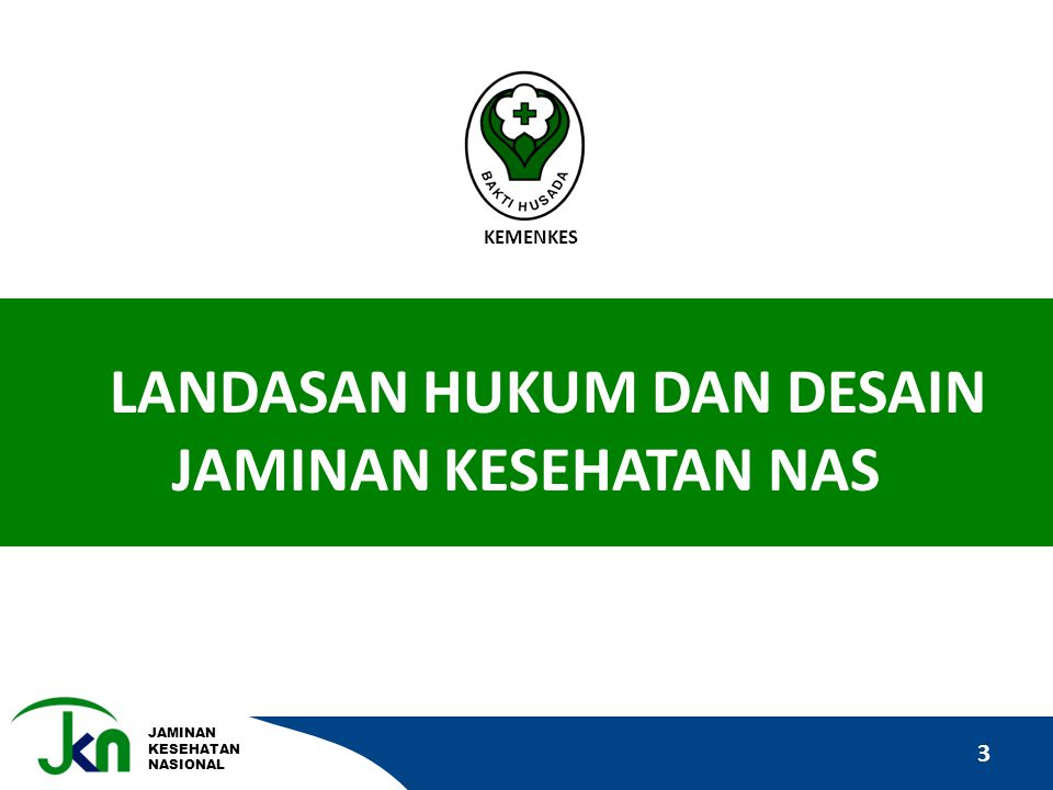 JAMINAN KESEHATAN NASIONAL 3 LANDASAN HUKUM DAN DESAIN JAMINAN KESEHATAN NAS KEMENKES