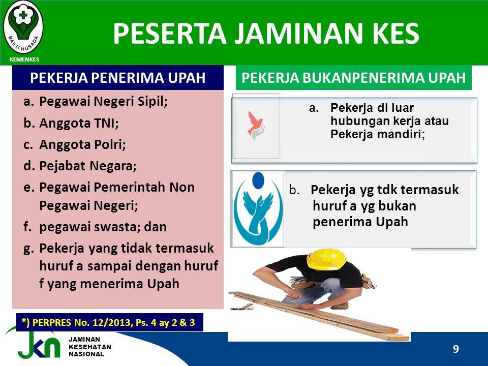 JAMINAN KESEHATAN NASIONAL PESERTA JAMINAN KES KEMENKES 9 *) PERPRES No. 12/2013, Ps. 4 ay 2 & 3 a.Pegawai Negeri Sipil; b.Anggota TNI; c.Anggota Polr