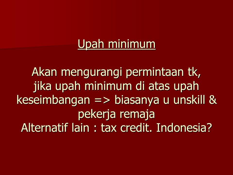 Upah minimum Akan mengurangi permintaan tk, jika upah minimum di atas upah keseimbangan => biasanya u unskill & pekerja remaja Alternatif lain : tax c