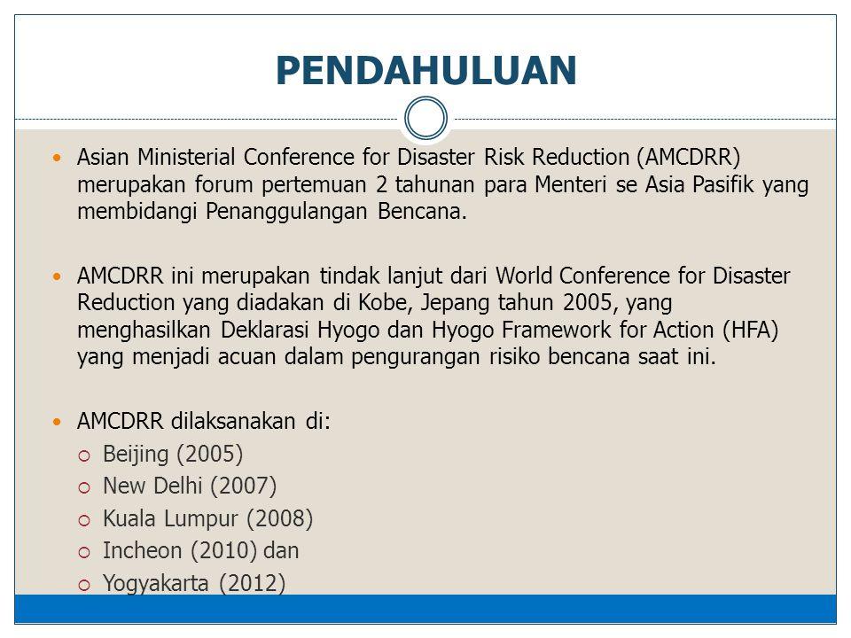  Asian Ministerial Conference for Disaster Risk Reduction (AMCDRR) merupakan forum pertemuan 2 tahunan para Menteri se Asia Pasifik yang membidangi Penanggulangan Bencana.