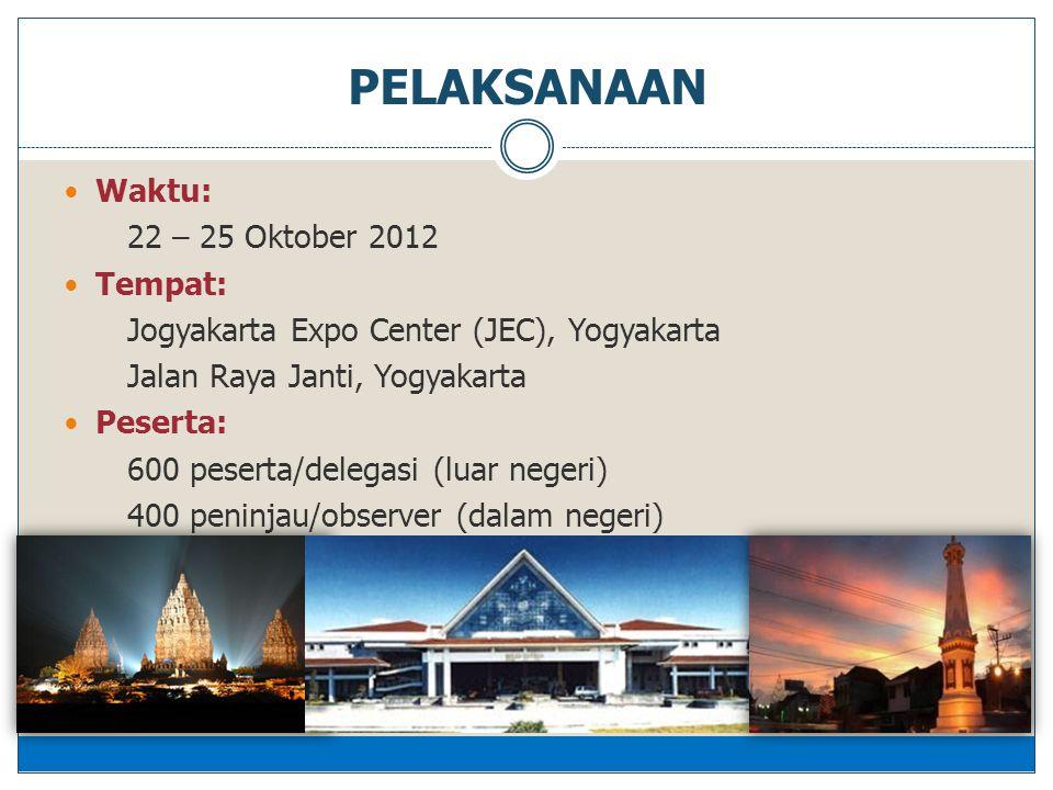  Waktu: 22 – 25 Oktober 2012  Tempat: Jogyakarta Expo Center (JEC), Yogyakarta Jalan Raya Janti, Yogyakarta  Peserta: 600 peserta/delegasi (luar negeri) 400 peninjau/observer (dalam negeri) PELAKSANAAN