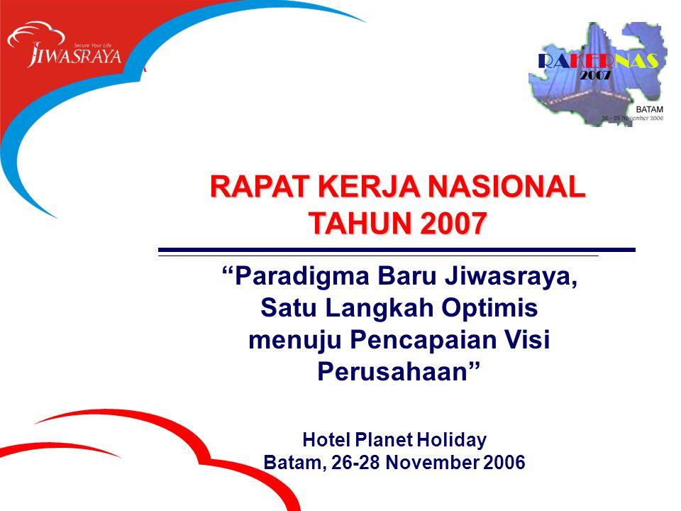 RAPAT KERJA NASIONAL TAHUN 2007 Paradigma Baru Jiwasraya, Satu Langkah Optimis menuju Pencapaian Visi Perusahaan Hotel Planet Holiday Batam, 26-28 November 2006