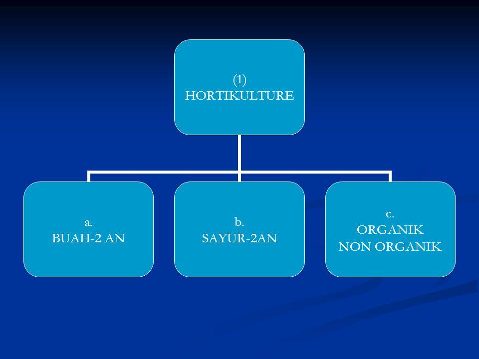 (1) HORTIKULTURE a. BUAH-2 AN b. SAYUR-2AN c. ORGANIK NON ORGANIK