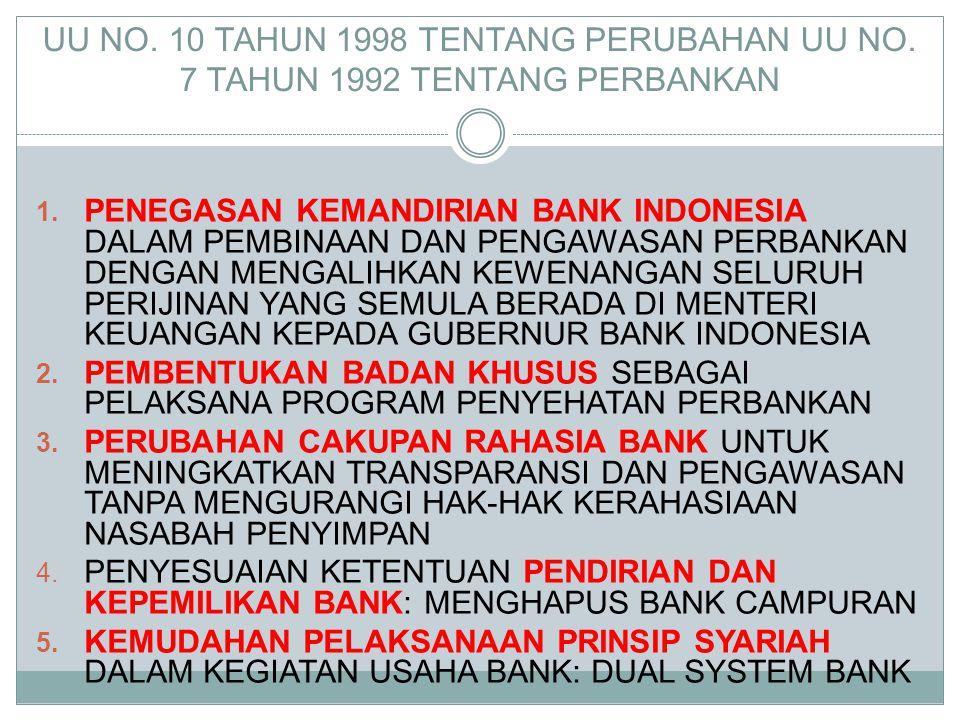 UU NO. 10 TAHUN 1998 TENTANG PERUBAHAN UU NO. 7 TAHUN 1992 TENTANG PERBANKAN 1. PENEGASAN KEMANDIRIAN BANK INDONESIA DALAM PEMBINAAN DAN PENGAWASAN PE