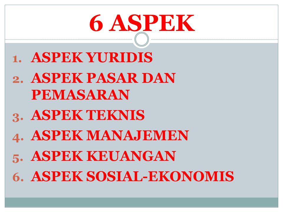 6 ASPEK 1. ASPEK YURIDIS 2. ASPEK PASAR DAN PEMASARAN 3. ASPEK TEKNIS 4. ASPEK MANAJEMEN 5. ASPEK KEUANGAN 6. ASPEK SOSIAL-EKONOMIS