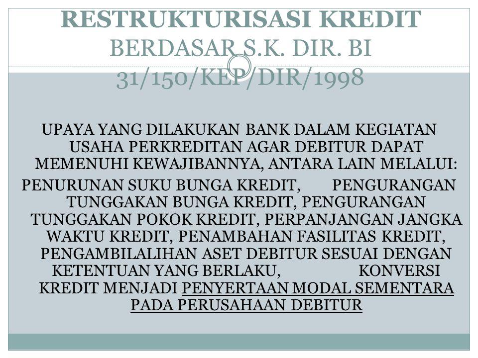 RESTRUKTURISASI KREDIT BERDASAR S.K. DIR. BI 31/150/KEP/DIR/1998 UPAYA YANG DILAKUKAN BANK DALAM KEGIATAN USAHA PERKREDITAN AGAR DEBITUR DAPAT MEMENUH