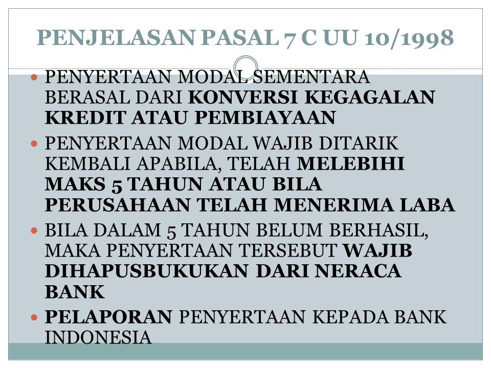 PENJELASAN PASAL 7 C UU 10/1998  PENYERTAAN MODAL SEMENTARA BERASAL DARI KONVERSI KEGAGALAN KREDIT ATAU PEMBIAYAAN  PENYERTAAN MODAL WAJIB DITARIK K