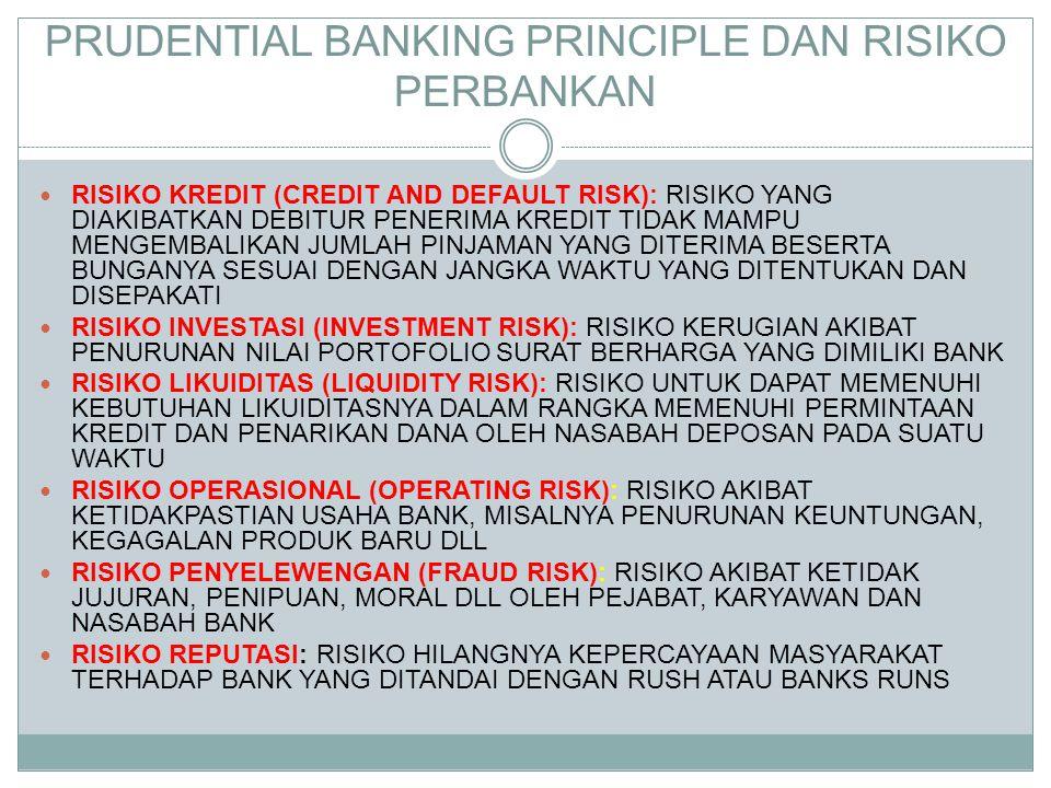 PRUDENTIAL BANKING PRINCIPLE DAN RISIKO PERBANKAN  RISIKO KREDIT (CREDIT AND DEFAULT RISK): RISIKO YANG DIAKIBATKAN DEBITUR PENERIMA KREDIT TIDAK MAM