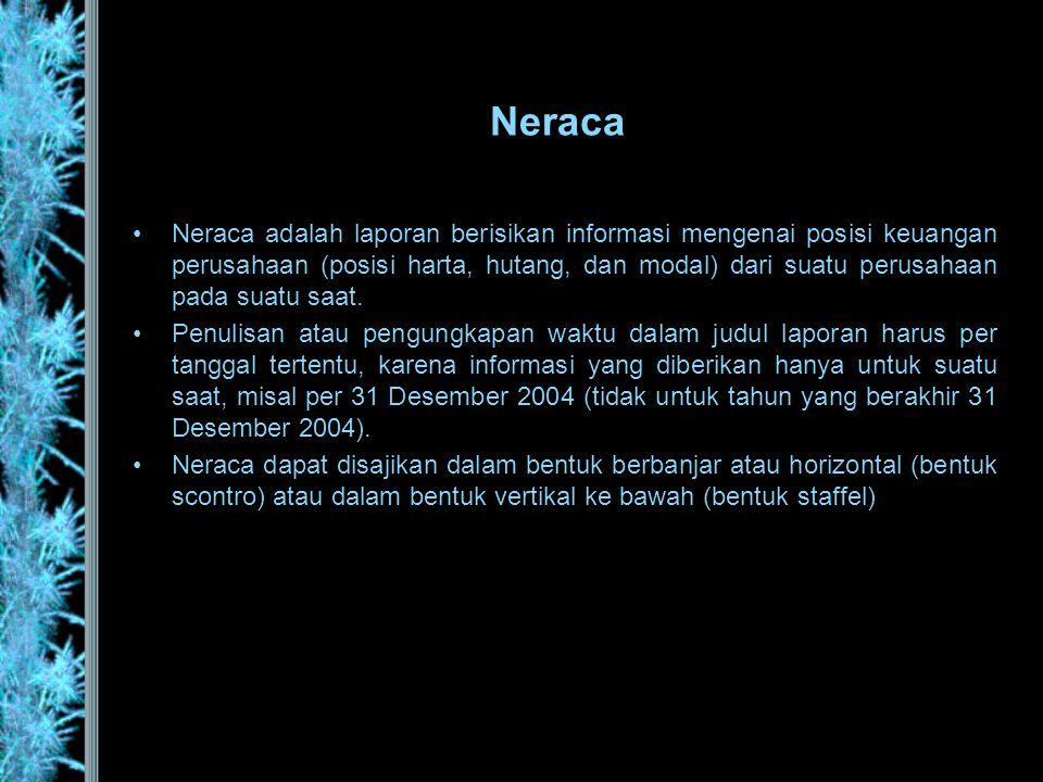 Neraca •Neraca adalah laporan berisikan informasi mengenai posisi keuangan perusahaan (posisi harta, hutang, dan modal) dari suatu perusahaan pada sua